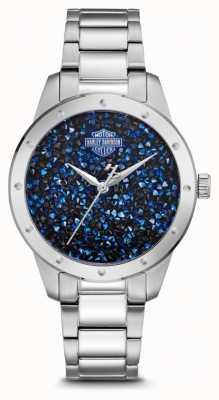 Harley Davidson Blaues Zifferblatt | Armband aus Edelstahl 76L188