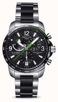 Certina Ds podium gmt Herrenchronograph aus Edelstahl schwarzes Zifferblatt C0016392220702