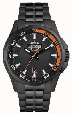 Harley Davidson Herren Armaturenbrett | schwarzes Zifferblatt | schwarzes edelstahl armband 78B141