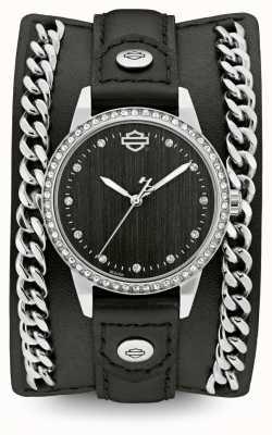 Harley Davidson Damen aus der Chain Cuff Kollektion | schwarzes Lederband 76L184