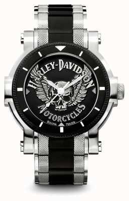 Harley Davidson Zweifarbiges Herrenarmband aus Edelstahl | schwarzes Zifferblatt 78A109