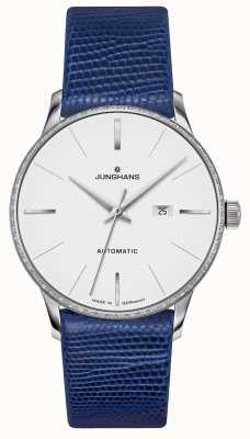 Junghans Meister Damen Automatik | Diamant-Set | blauer Eidechsenriemen 027/4846.00