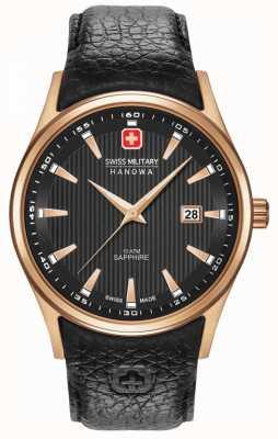Swiss Military Hanowa Mens   roségold   schwarzes Armband 06-4286.09.007