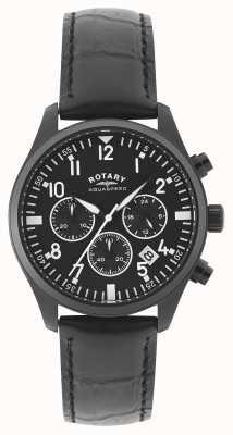 Rotary Herrenchronograph   schwarzes Lederarmband   schwarzes Zifferblatt GS00110/04