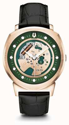 Bulova Herren-Accutron-II-Armband aus roségoldplattiertem, grünem Zifferblatt 97A122