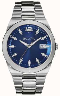 Bulova Klassisches blaues Zifferblatt aus Edelstahl Armband Datum 96B220