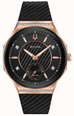Bulova Damenarmband aus rosé vergoldetem Kautschuk 98R239
