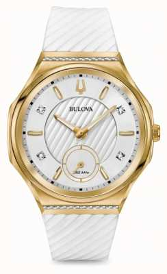 Bulova Damenschliffdiamant-Set, vergoldetes weißes Armband 98R237