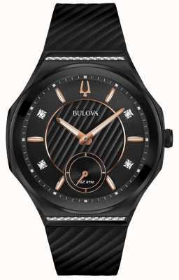 Bulova Damen-Armband aus schwarzem Kautschuk mit geschwungenen Diamanten 98R240
