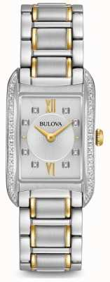 Bulova Damen Silber Diamanten Set Quarz 98R227