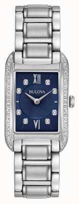 Bulova Damenarmband mit schwarzem Zifferblatt aus Edelstahl 96R211