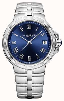 Raymond Weil Parsifal klassische Armbanduhr mit blauem Zifferblatt 5580-ST-00508