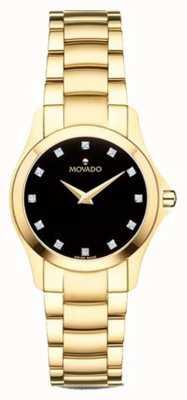 Movado | Womens Moisan Uhr | Goldton | schwarzes Zifferblatt | 0607028