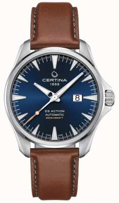 Certina Mens ds action Automatik braunes Lederband blaues Zifferblatt C0324261604100