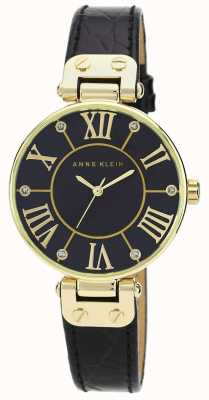 Anne Klein | Damen-Signaturuhr | schwarz und gold | AK/N1396BMBK