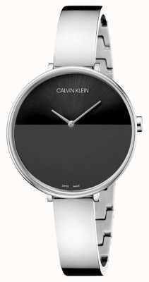 Calvin Klein   Damenaufstieg Edelstahlarmband   schwarzes Zifferblatt   K7A23141