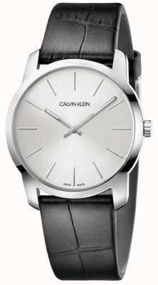 Calvin Klein | Stadterweiterungsuhr | schwarzes Lederarmband | silbernes Zifferblatt | K2G221C6