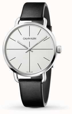 Calvin Klein | auch Erweiterungsuhr | schwarzes Lederarmband | weißes Zifferblatt | K7B211CY