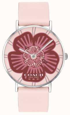 Coach | damen perry uhr | rosa Lederband | floral zifferblatt | 14503231