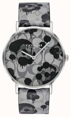 Coach | Damen-Armbanduhr | graues Lederband mit Blumenmuster | 14503248