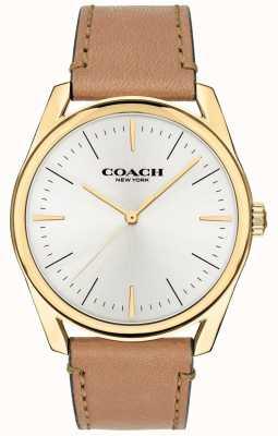 Coach | Herren moderne Luxusuhr | beige Lederband weißes Zifferblatt | 14602398