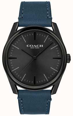 Coach | Herren moderne Luxusuhr | blaues Lederband | 14602399