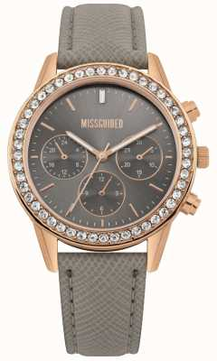 Missguided | Damenuhr | graues Lederband roségoldfarbenes Gehäuse | MG002ERG