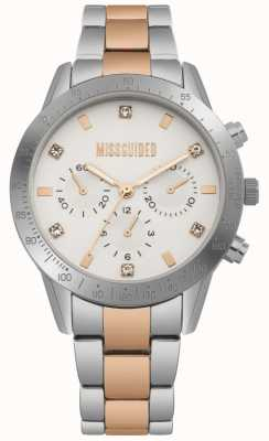 Missguided Damenuhr aus Edelstahl in zweifarbigem Silber und Roségold | MG004SRM