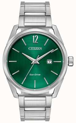 Citizen Herren Eco-Drive Metallarmband grünes Zifferblatt BM7410-51X