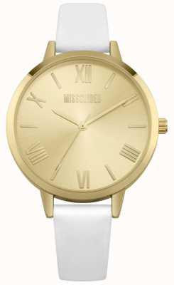 Missguided | Armband aus cremefarbenem Leder für Damen | Champagnerzifferblatt | MG001WG