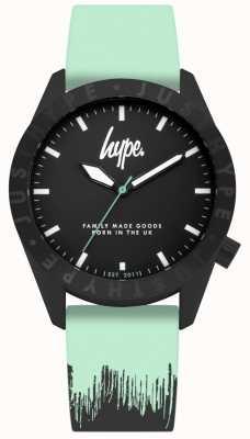 Hype | mint schwarzes Silikonband | schwarzes Zifferblatt | HYU008AU