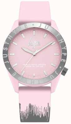 Hype | pink / graues Silikonarmband für Damen | rosafarbenes Zifferblatt | HYL008PS