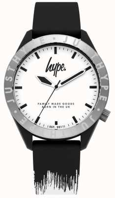 Hype | Herren schwarz / weißes Silikonband | weißes Zifferblatt | HYG006BW