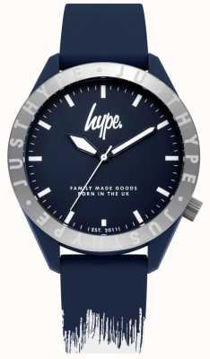 Hype | blaues / weißes Silikonarmband für Herren | blaues Zifferblatt | HYG006UW