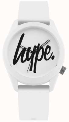 Hype | weißes Silikonband | weißes und schwarzes Zifferblatt | HYU001W