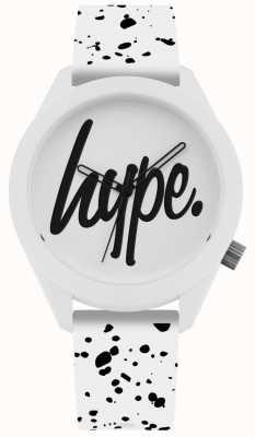 Hype | Silikonarmband mit weißem und schwarzem Druck | weißes Zifferblatt | HYG003W