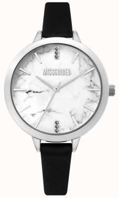 Missguided | damenuhr aus schwarzem leder | weißes marmor zifferblatt | MG011BS