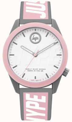 Hype | damenuhr | graues und rosafarbenes Silikonband | HYL018PW