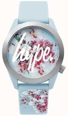 Hype | damenuhr | blaues Silikonband | florales Zifferblatt | HYL022US