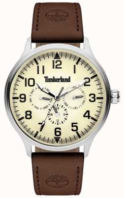 Timberland | Herren blanchard | braunes Lederarmband | cremefarbenes Zifferblatt | 15270JS/14