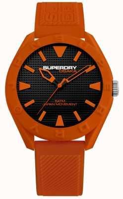 Superdry | osaka | mattes schwarzes Zifferblatt | orange strukturierter Riemen | SYG243O