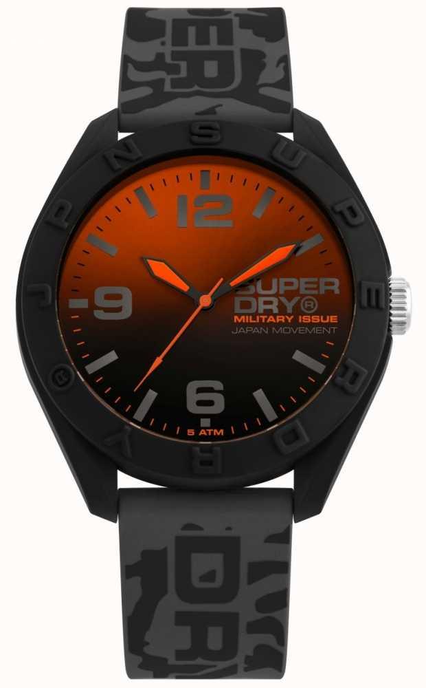 superdryu uhr schwarz orange