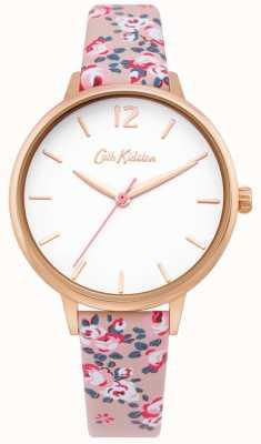 Cath Kidston | Womens Hampton Uhr | Blumenlederarmband | weißes Zifferblatt | CKL067PRG