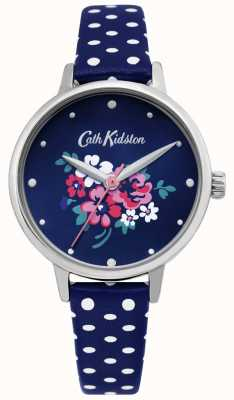 Cath Kidston | glückliche Bündeluhr der Frauen | gepunktetes blaues Leder | CKL070U