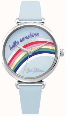 Cath Kidston | Regenbogenuhr für Damen | blaues Lederband | Regenbogen-Zifferblatt | CKL081U