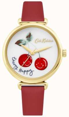 Cath Kidston | Frauen Kirsche Happy Watch | rotes Lederband | weißes Zifferblatt CKL081RG