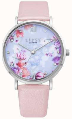 Lipsy | hellrosa Lederarmband für Damen florales Zifferblatt | LP656