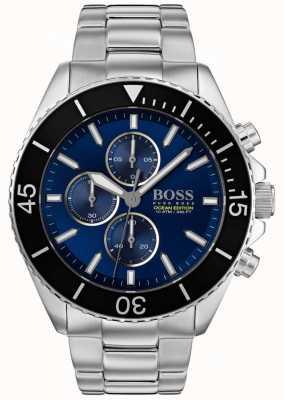 Hugo Boss | Herren Ozean Edition | Silber Edelstahl | blaues Zifferblatt | 1513704