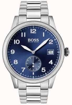 Boss   Herren Legacy Uhr   Edelstahl   blaues Zifferblatt   1513707
