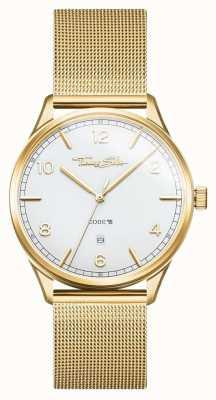 Thomas Sabo | Edelstahl-Armband mit Goldmaschen | weißes Zifferblatt | WA0340-264-202-40